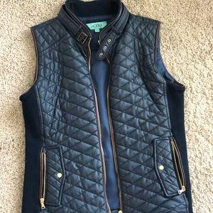 Navy Faux Leather Vest